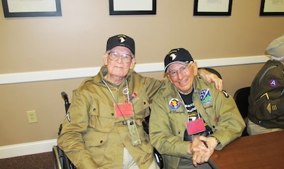 """Edwin """"Doc"""" Pepping, left, and Albert """"Al"""" Mampre served as combat medics attached to Easy Company, 2nd Battalion of the 506th Parachute Infantry Regiment, 101st Airborne Division, also known as the """"Band of Brothers."""" Photo courtesy of Matthew Pepping"""