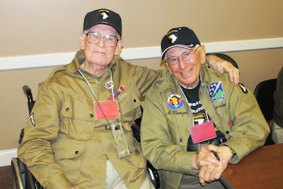 Edwin Pepping, left, and Albert Mampre served as combat medics attached to Easy Company, 2nd Battalion of the 506th Parachute Infantry Regiment, 101st Airborne Division