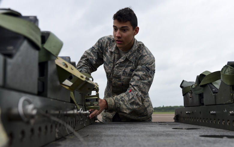 U.S. Air Force Airman 1st Class Julian Tisdale, 2nd Aircraft Maintenance Squadron load crew team member, inspects inert, (non-explosive) Quick Strike MK 62 mines at RAF Fairford, U.K., June 5, 2017. Bomber crews are participating in BALTOPS 2017, an annual, multinational, maritime-focused exercise designed to strengthen interoperability and cohesiveness between NATO allies and partnered nations. (U.S. Air Force photo by Airman 1st Class Randahl J. Jenson)