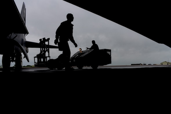 U.S. Air Force Senior Airman Michael Ruiz, left, and Airman 1st Class Nathaniel Martin, 2nd Aircraft Maintenance Squadron weapons load crew members, load inert, (non-explosive) Quick Strike MK 62 mines into a B-52 Stratofortress at RAF Fairford, June 5, 2017. Bomber crews are participating in BALTOPS 2017, an annual, multinational, maritime-focused exercise designed to strengthen interoperability and cohesiveness between NATO allies and partnered nations. (U.S. Air Force photo by Airman 1st Class Randahl J. Jenson)