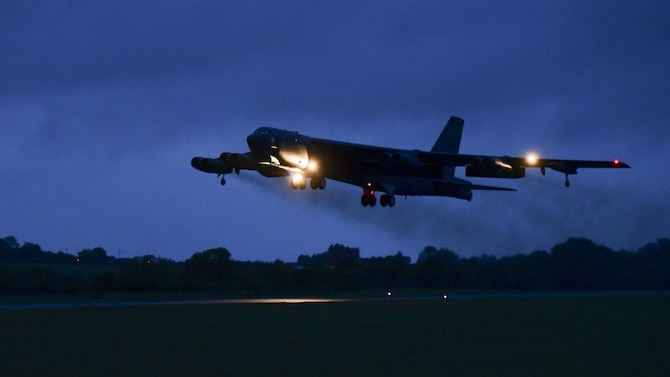A B-52H Stratofortress from Barksdale Air Force Base, La., lifts off the runway at RAF Fairford, U.K., June 6, 2017. Crew members aboard B-52s will participate in BALTOPS, an annual, multinational, maritime-focused exercise involving NATO allies and partner nations. BALTOPS provides bomber crews with opportunities to integrate capabilities with regional partners and is part of the United States' commitment to supporting global security. (U.S. Air Force photo by Airman 1st Class Randahl J. Jenson)