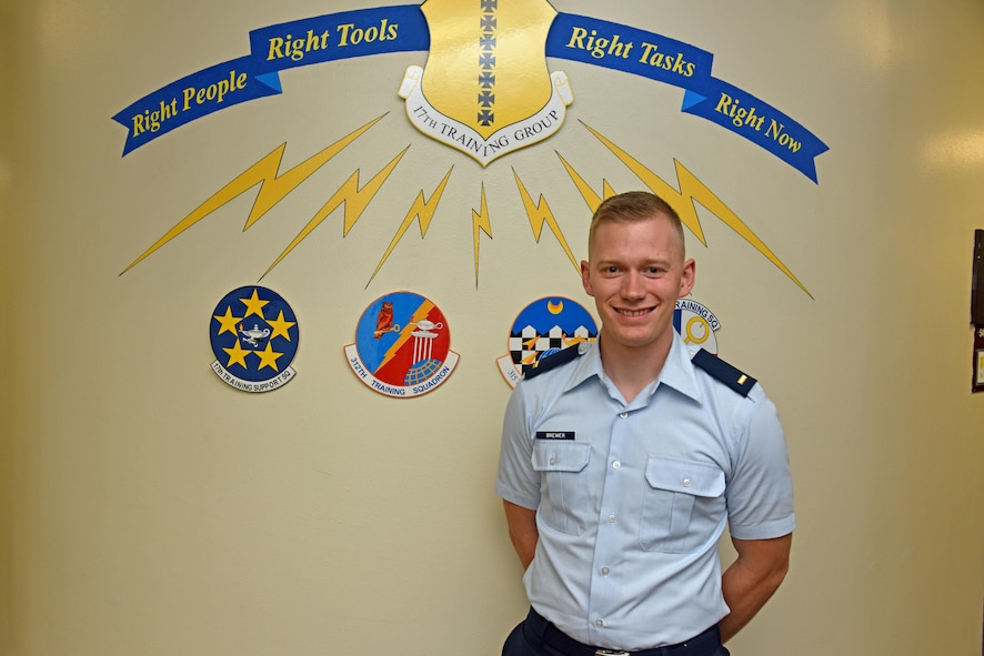 U.S. Air Force 2nd Lt. Michael Bremer, 315th Training Squadron student, stands for a portrait in Brandenburg Hall on Goodfellow Air Force Base, Texas, June 2, 2017. Bremer is the Goodfellow Student of the Month spotlight for May 2017, a series highlighting Goodfellow students. (U.S. Air Force photo by Staff Sgt. Joshua Edwards/Released)