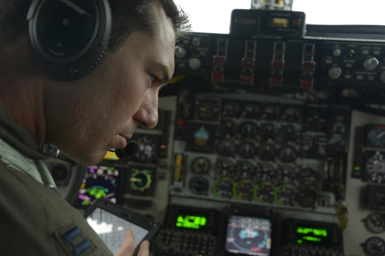 Capt. Chris Carr, 351st Air Refueling Squadron pilot, conducts a pre-flight check on a KC-135R Stratotanker during BALTOPS exercise at Powidz Air Base, Poland, June 6, 2017. BALTOPS is an annually recurring multinational