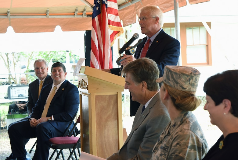 Senator Roger Wicker delivers remarks during the Keesler main gate announcement June 1, 2017, in Biloxi, Miss. Local, state and federal officials joined Keesler Air Force Base leaders to announce an estimated $37 million project to locate a new main entry gate at Division St. and Forrest Ave. The two-year project includes an expanded and enhanced boulevard along Division St. from I-110 to Forrest Ave. (U.S. Air Force photo by Kemberly Groue)