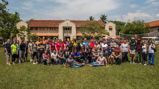 COLOMBO, Sri Lanka (March 28, 2017) U.S. Marines and Sailors with the Makin Island Amphibious Ready Group/11th Marine Expeditionary Unit (MEU), pose for a photograph alongside volunteers with U.S. Embassy Colombo, following a community relations project held at the Ratmalana School for the Deaf and Blind, as part of a theater security cooperation engagement, March 28. Over the course of the engagement, Marines with the 11th MEU, alongside Marines and Sailors with the Sri Lankan Navy will take part in basic military tactics exercises, humanitarian assistance and disaster relief training, and community relations projects. (U.S. Marine Corps photo by Cpl. Devan K. Gowans)