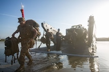 U.S. Marines with the 11th Marine Expeditionary Unit disembark a Landing Craft Utility (LCU) at Camp Pendleton, Calif., May 13, 2017. The 11th MEU Marines and Sailors landed ashore over three days via Landing Craft Air Cushion, Combat Rubber Raiding Crafts, LCUs, Amphibious Assault Vehicles, and aircraft after their Western Pacific Deployment 16-2. The 11th MEU served a seven-month deployment to the Western Pacific, Middle East, and Horn of Africa. (U.S. Marine Corps photo by Sgt. Xzavior T. McNeal)