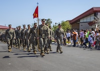 MARINE CORPS BASE CAMP PENDLETON, California (May 13, 2017) U.S. Marines with Company C, Battalion Landing Team 1st Bn., 4th Marines, 11th Marine Expeditionary Unit (MEU), march toward their friends and families during a homecoming event at Camp Pendleton, Calif., May 13. The 11th MEU embarked the Makin Island Amphibious Ready Group mid-October 2016, and trained alongside armed forces from foreign nations and supported operations throughout the Western Pacific, Middle East and Horn of Africa. (U.S. Marine Corps photo by Sgt. April L. Price)