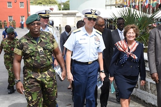 Coast Guard Rear Adm. Daniel Abel, director of operations for U.S. Southern Command, and Linda Swartz Taglialatela, ambassador for the United States of America, depart the opening ceremony for Tradewinds 2017 in Bridgetown, Barbados, June 6, 2017.  Tradewinds is a joint, combined exercise conducted in conjunction with partner nations to enhance the collective abilities of defense forces and constabularies to counter transnational organized crime, and to conduct humanitarian/disaster relief operations. (U.S. Coast Guard photo by Petty Officer 1st Class Melissa Leake/Released)