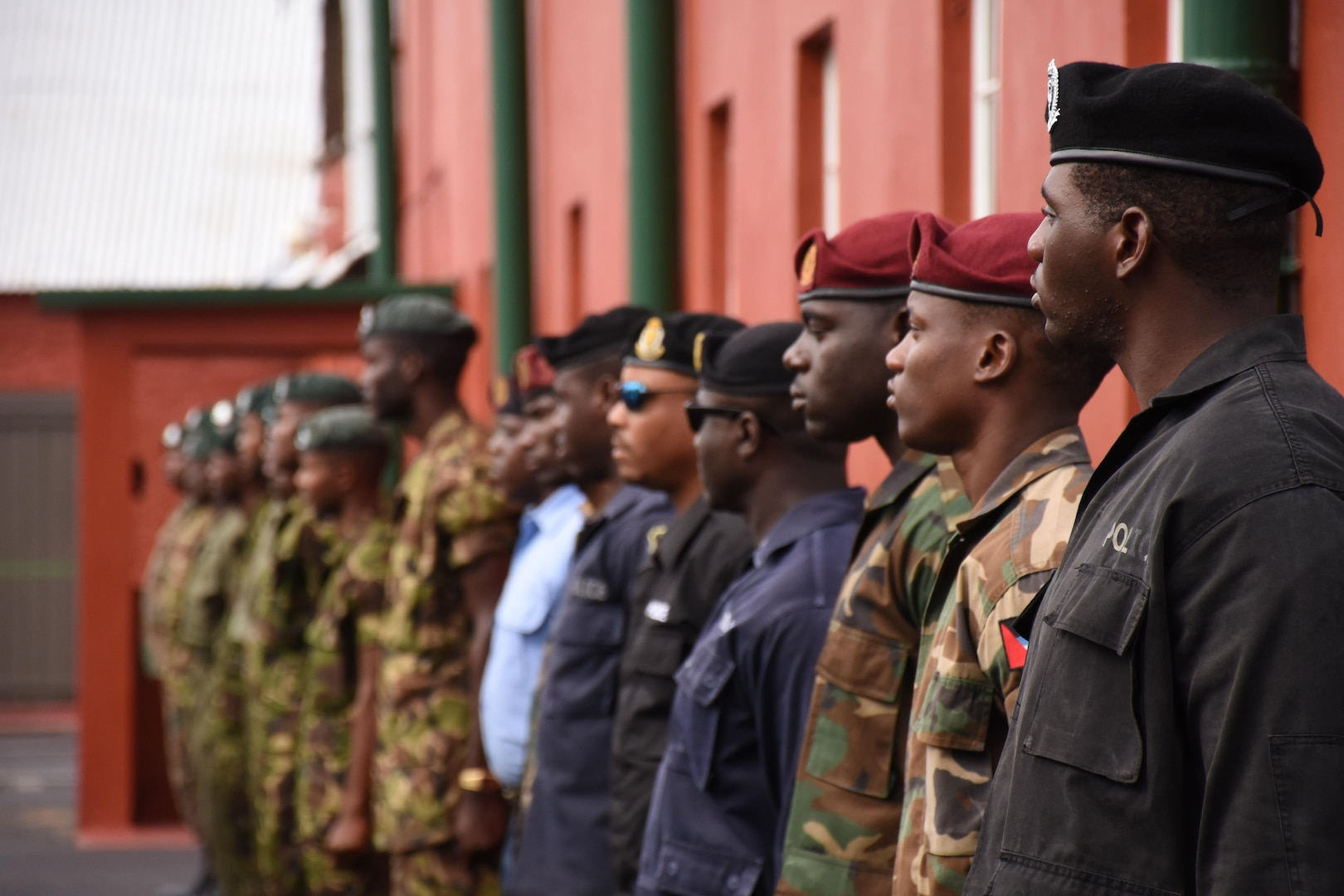 Participants from different countries stand at parade rest during the opening ceremony for Tradewinds 2017 in Bridgetown, Barbados, June 6, 2017.  Tradewinds is a joint, combined exercise conducted in conjunction with partner nations to enhance the collective abilities of defense forces and constabularies to counter transnational organized crime, and to conduct humanitarian/disaster relief operations. (U.S. Coast Guard photo by Petty Officer 1st Class Melissa Leake/Released)