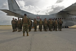 Mexico's Naval Infantry Force Marines arrive in Barbados to train in a Tradewinds Exercise, June 5, 2017.  Military and civilians from over 20 countries are participating in this year's exercise in Barbados, and Trinidad and Tobago which runs from June 6-17, 2017. Tradewinds is a joint, combined exercise conducted in conjunction with partner nations to enhance the collective abilities of defense forces and constabularies to counter terrorism and transnational organized crime, and to conduct humanitarian and disaster relief operations. (U.S. Army National Guard photo by Sgt. Garrett L. Dipuma)