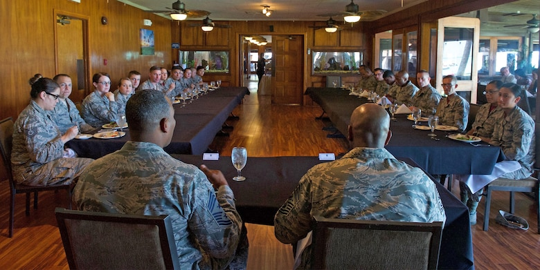 Chief Master Sgt. of the Air Force Kaleth O. Wright answers questions from Airmen assigned to Headquarters Pacific Air Forces (PACAF) during a luncheon at Joint Base Pearl Harbor-Hickam, Hawaii, June 2, 2017. Wright was accompanied by Chief Master Sgt. Anthony W. Johnson, PACAF command chief, and made several stops to units across the base, providing an opportunity for Airmen to interact with him and discuss their concerns. (U.S. Air Force photo/Tech. Sgt. Kamaile Chan)
