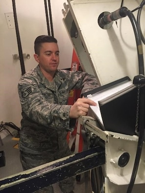 Staff Sgt. Geoffrey Kirchner, 90th Missile Maintenance Squadron team chief, performs work at a training facility at F.E. Warren Air Force Base, Wyo. (U.S. Air Force courtesy photo)