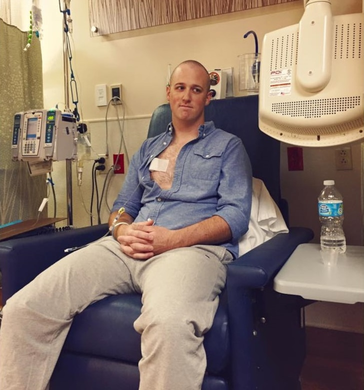 U.S. Air Force Staff Sgt. Oliver Broadbent, 22nd Airlift Squadron loadmaster, undergoes chemotherapy treatment in David Grant USAF Medical Center at Travis Air Force Base, Calif. Broadbent was diagnosed with stage 1 Follicular non-Hodgkin lymphoma in June 2015. After six months of chemotherapy and radiation treatment, Broadbent was pronounced cancer free. (Courtesy photo)