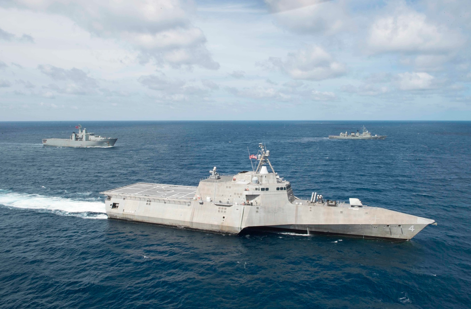 The littoral combat ship USS Coronado (LCS 4) is underway in formation with ships from the Royal Thai Navy as part of a division tactics exercise during Cooperation Afloat Readiness and Training (CARAT) Thailand. CARAT is a series of Pacific Command-sponsored, U.S Pacific Fleet-led bilateral exercises held annually in South and Southeast Asia to strengthen relationships and enhance force readiness, June 3, 2017. CARAT exercise events cover a broad range of naval skill areas and disciplines including surface, undersea, air, and amphibious warfare; maritime security operations; riverine, jungle, and explosive ordnance disposal operations; combat construction; diving and salvage; search and rescue; maritime patrol and reconnaissance aviation; maritime domain awareness; military law, public affairs and military medicine; and humanitarian assistance and disaster response.
