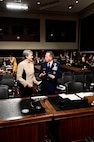 Secretary of the Air Force heather Wilson and Air Force Chief of Staff Gen. David Goldfein prepare to testify before the Senate Armed Services Committee June 6, 2017, in Washington, D.C.  The top leaders gave their testimony on the posture of the Department of the Air Force in review of the Defense Authorization Request for Fiscal Year 2018 and the Future Years' Defense Program. (U.S. Air Force photo/Scott M. Ash)