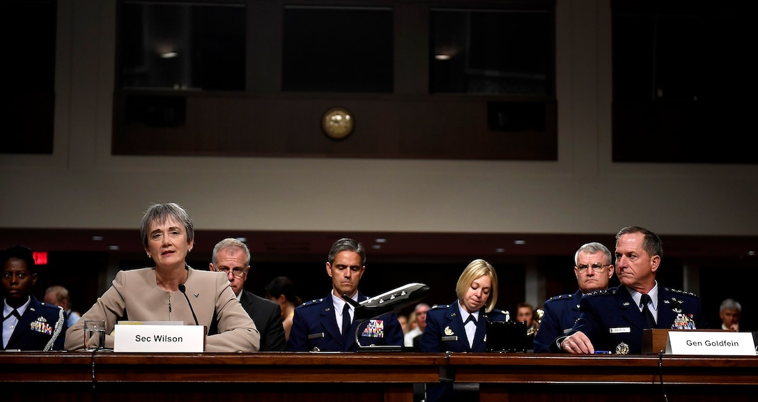 Secretary of the Air Force heather Wilson and Air Force Chief of Staff Gen. David Goldfein testify before the Senate Armed Services Committee June 6, 2017, in Washington, D.C.  The top leaders gave their testimony on the posture of the Department of the Air Force in review of the Defense Authorization Request for Fiscal Year 2018 and the Future Years' Defense Program. (U.S. Air Force photo/Scott M. Ash)