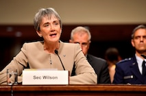 Secretary of the Air Force heather Wilson testifies before the Senate Armed Services Committee June 6, 2017, in Washington, D.C.  The top leaders gave their testimony on the posture of the Department of the Air Force in review of the Defense Authorization Request for Fiscal Year 2018 and the Future Years' Defense Program. (U.S. Air Force photo/Scott M. Ash)