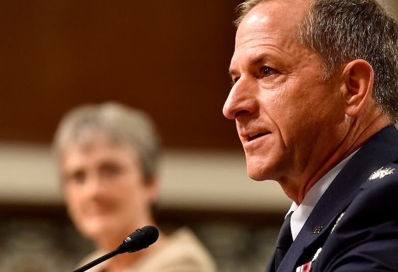 Air Force Chief of Staff Gen. David Goldfein testifies before the Senate Armed Services Committee June 6, 2017, in Washington, D.C.  The top leaders gave their testimony on the posture of the Department of the Air Force in review of the Defense Authorization Request for Fiscal Year 2018 and the Future Years' Defense Program. (U.S. Air Force photo/Scott M. Ash)