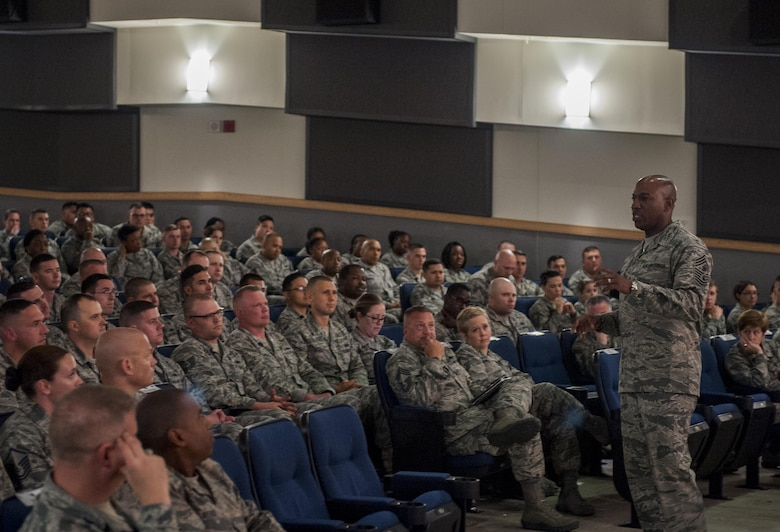 Chief Master Sgt. of the Air Force Kaleth O. Wright speaks to members of the Wolf Pack during an all call briefing at Kunsan Air Base, Republic of Korea, June 6, 2017. Wright traveled to Kunsan to meet with airmen and discuss his focus areas as CMSAF as well as the Air Force mission throughout the Pacific region. (U.S. Air Force photo by Senior Airman Colville McFee/Released)