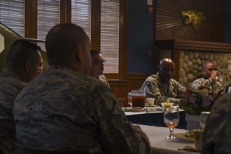 Chief Master Sgt. of the Air Force Kaleth O. Wright answers questions during a luncheon with senior noncommissioned officers and first sergeants at Kunsan Air Base, Republic of Korea, June 6, 2017. Wright traveled to Kunsan to meet with airmen and discuss his focus areas as CMSAF as well as the Air Force mission throughout the Pacific region. (U.S. Air Force photo by Senior Airman Michael Hunsaker/ Released)