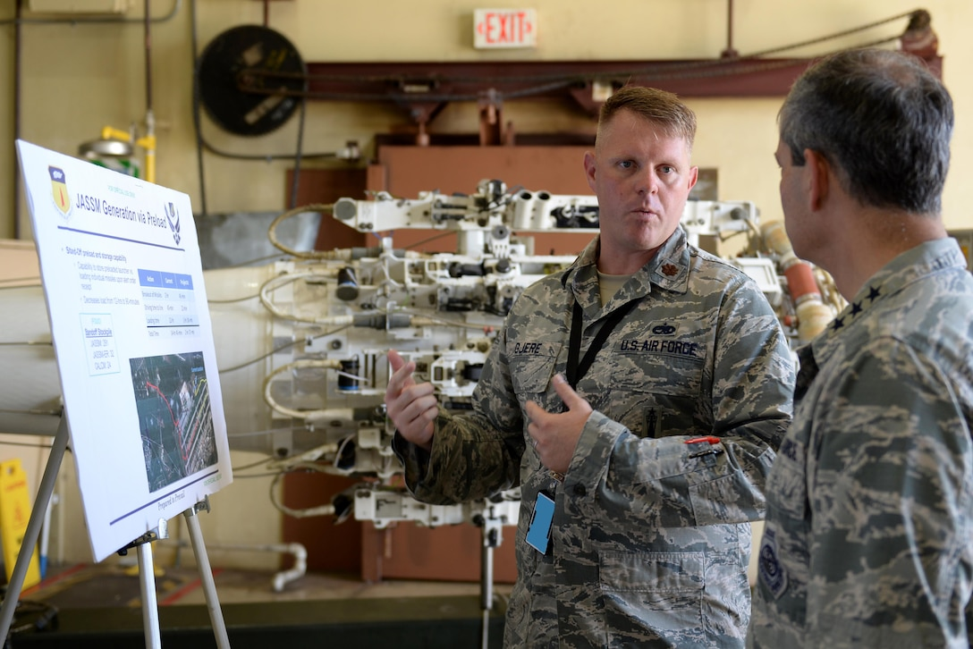 U.S. Air Force Lt. Gen. Kenneth S. Wilsbach, 11th Air Force commander, speaks with Maj. Arne Gjere, 36th Munitions Squadron commander, June 1, 2017, at Andersen Air Force Base, Guam. Wilsbach and 11th Air Force command chief, Chief Master Sgt. Gay Veale, visited various units around base and conducted open discussions with Airmen before ending their visit with a base-wide all call. (U.S. Air Force photo by Airman 1st Class Gerald R. Willis)