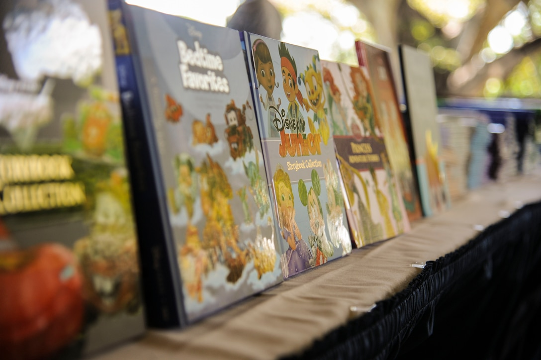 Hundreds of books line tables at the Hickam Officers Club for the Books on Bases event hosted by Blue Star Families, Joint Base Pearl Harbor-Hickam, Hawaii, June 2, 2017.  Blue Star Families program donates books to military children, base libraries, Department of Defense schools, and military-impacted public schools and libraries across the world. (U.S. Air Force photo by Tech. Sgt. Heather Redman)