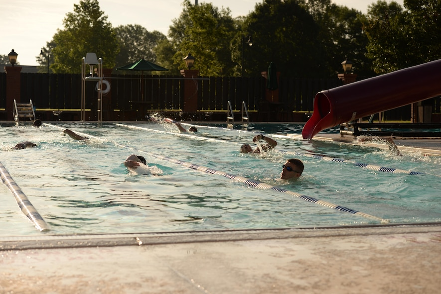 Athletes swim in a base triathlon June 3, 2017, in the Independence pool on Columbus Air Force Base, Mississippi. The pool was divided into sections so the participants didn't swim into others and to keep the distance swam as equal as possible. (U.S. Air Force photo by Airman 1st Class Keith Holcomb)