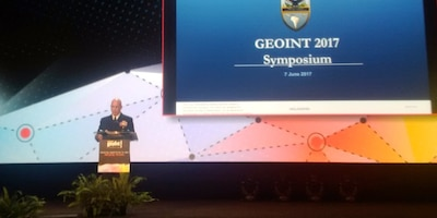 SAN ANTONIO, Texas (June 7, 2017) -- Adm. Kurt W. Tidd, commander of U.S. Southern Command, gives the keynote address at the GEOINT 2017 Symposium in San Antonio, Texas. (Photo by Jose Ruiz, SOUTHCOM Public Affairs)