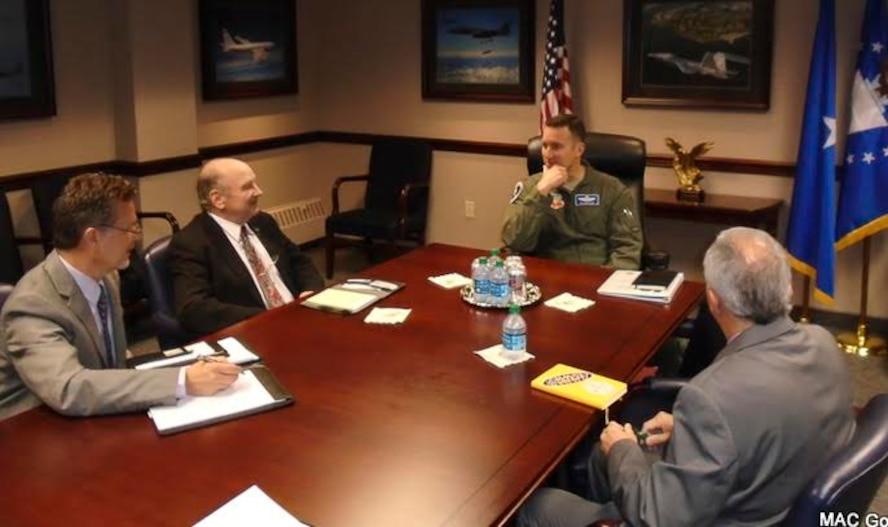 During their annual trip to meet with Air Force leadership, the Military Affairs Committee discusses key issues and future plans for Mountain Home Air Force Base. The committee advocates on behalf of the base and Air Force, helping in any way they can. (Courtesy Photo)