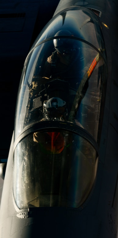 A U.S. Air Force F-15E Strike Eagle receives fuel from a 908th Expeditionary Air Refueling Squadron KC-10 Extender during a flight in support of Operation Inherent Resolve June 2, 2017. The F-15E Strike Eagle is a dual-role fighter designed to perform air-to-air and air-to-ground missions. An array of avionics and electronics systems gives the F-15E the capability to fight at low altitude, day or night, and in all weather. (U.S. Air Force photo by Staff Sgt. Michael Battles)