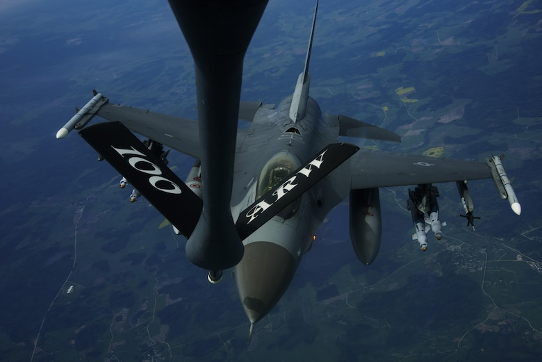 An F-16 Fighting Falcon, 510th Fighter Squadron, refuels from a KC-135R Stratotanker, 100th Air Refueling Wing,