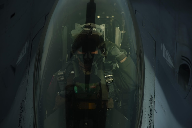 An F-16 Fighting Falcon, 510th Fighter Squadron, refuels from a KC-135R Stratotanker, 100th Air Refueling Wing, from RAF Mildenhall, England in support of Aviation Detachment rotation 17-3, exercise BALTOPS and exercise Saber Strike over Latvia, June 7, 2017. The U.S. Air Force is supporting this exercise with approximately 900 Airmen, eight F-16s from the 31st Fighter Wing, Aviano Air Base, Italy, four KC-135 Stratotankers from the 100th Air