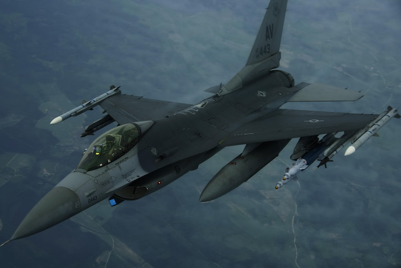 An F-16 Fighting Falcon, 510th Fighter Squadron, is deployed to Krzesiny Air Base, Poland, in support of Aviation