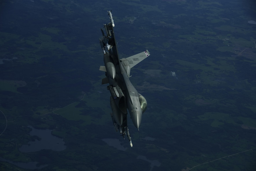 An F-16 Fighting Falcon, 510th Fighter Squadron, is deployed to Krzesiny Air Base, Poland, in support of Aviation Detachment rotation 17-3, exercise BALTOPS and exercise Saber Strike flies over Latvia, June 7, 2017. The exercise, is designed to enhance flexibility and interoperability, to strengthen combined response capabilities, as well as demonstrate resolve among Allied and Partner Nations' forces to ensure stability in, and if necessary defend, the Baltic Sea region. (U.S. Air Force photo by Staff Sgt. Jonathan Snyder)
