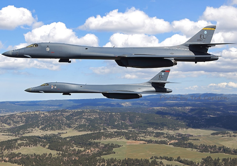 B-1B Lancers assigned to the 37th Bomb Squadron and 34th Bomb Squadron at Ellsworth Air Force Base, S.D., team up for a training mission April 12, 2017. This year marks the 100th anniversary of the squadrons whose heritage includes being two of the squadrons that participated in the historic Doolittle Raid in 1942. (Photo provided by Ted Carlson, Fotodynamics)