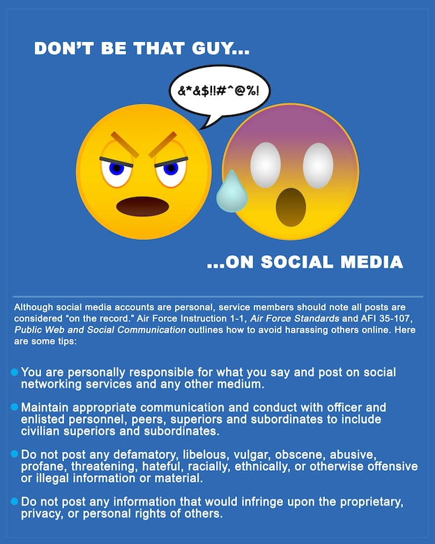 """Although social media accounts are personal, service members should note all social media posts are considered """"on the record."""" Without time to """"think it through"""", users risk hurting their career and others with defamatory comments or by overstepping their boundaries when sending private messages. (U.S. Air Force graphic/Staff Areca T. Bell)"""