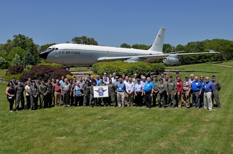 A group of past and present airborne missileers came together here on June 2 to celebrate the 50th anniversary of the Airborne Launch Control System. During their time here the group received a tour of the U.S. Navy E-6B Mercury, a 625th Strategic Operations Squadron mission briefing, ate lunch at the Patriot Club and posed for a photo in front of an EC-135 Looking Glass, which is on static display next to the Kenney Gate (U.S. Air Force photo by Josh Plueger).