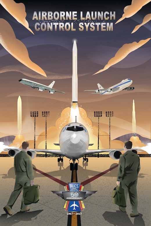 A poster commemorates the 50th anniversary of for the Airborne Launch Control System. Airborne missileers have patrolled the skies in four separate EC-135 variants as well as the E-4B and E-6B aircraft. Airborne missileers have the capability to remotely launch ballistic missiles carrying nuclear warheads. (U.S. Air Force graphic by Josh Plueger)