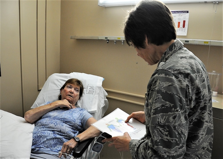 Lt. Col Candy Wilson (right), 779th Medical Group nurse practitioner, consults a human anatomy chart to determine where to place a Calmare electrode for treating Carol Celeste Gray, a Tricare beneficiary May 30, 2017 at Joint Base Andrews, Md. Gray suffers from chronic regional pain syndrome on the left side of her body that developed after being treated for a broken elbow. (U.S. Air Force photo by Staff Sgt. Joe Yanik)