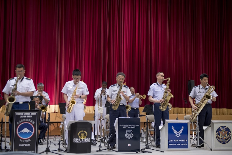 """Joint Big Band Concert performers play the song, """"Cottontail,"""" June 7, 2017, at the Japanese Ministry of Defense, Tokyo, Japan. The Joint Big Band included 20 members of Japanese and U.S. forces, from across five different bands: the Tokyo Band Sea Legs, Japan Air Self Defense Force Central Band, U.S. Army Japan Band Camp Zama, U.S. Navy 7th Fleet Band and the U.S. Air Force Band of the Pacific.  (U.S. Air Force photo by Airman 1st Class Donald Hudson)"""