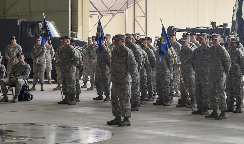 "8th Mission Support Group Airmen stand in formation during a change of command ceremony at Kunsan Air Base, Republic of Korea, June 8, 2017. Col. Michael Zuhlsdorf took command of the 8th MSG from Col. Richard McKee during which he received the title of ""Falcon"". (U.S. Air Force photo by Senior Airman Michael Hunsaker/Released)"