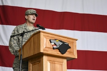 """U.S. Air Force Col. Michael Zuhlsdorf, 8th Mission Support Group commander, talks to the 8th Fighter Wing during a change of command ceremony at Kunsan Air Base, Republic of Korea, June 8, 2017. Col. Zuhlsdorf received command of the 8th MSG from Col. Richard McKee during the ceremony and received the title of """"Falcon"""". (U.S. Air Force photo by Senior Airman Michael Hunsaker/Released)"""