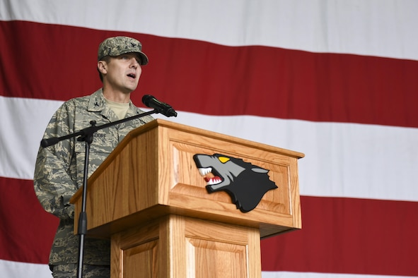 "U.S. Air Force Col. Michael Zuhlsdorf, 8th Mission Support Group commander, talks to the 8th Fighter Wing during a change of command ceremony at Kunsan Air Base, Republic of Korea, June 8, 2017. Col. Zuhlsdorf received command of the 8th MSG from Col. Richard McKee during the ceremony and received the title of ""Falcon"". (U.S. Air Force photo by Senior Airman Michael Hunsaker/Released)"
