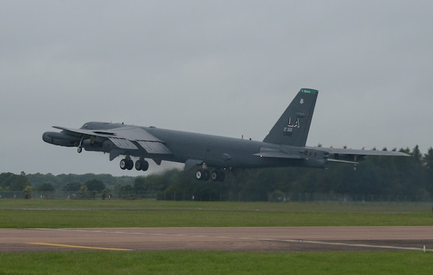 A B-52H Stratofortress takes off from Royal Air Force Fairford, U.K., June 5, 2017, in support of exercise Saber Strike 17. Saber Strike 17 promotes regional stability and security, while strengthening partner capabilities and fostering trust. The combined training opportunities that it provides greatly improves interoperability among participating NATO Allies and key regional partners. (U.S. Air Force photo/Senior Airman Curt Beach)