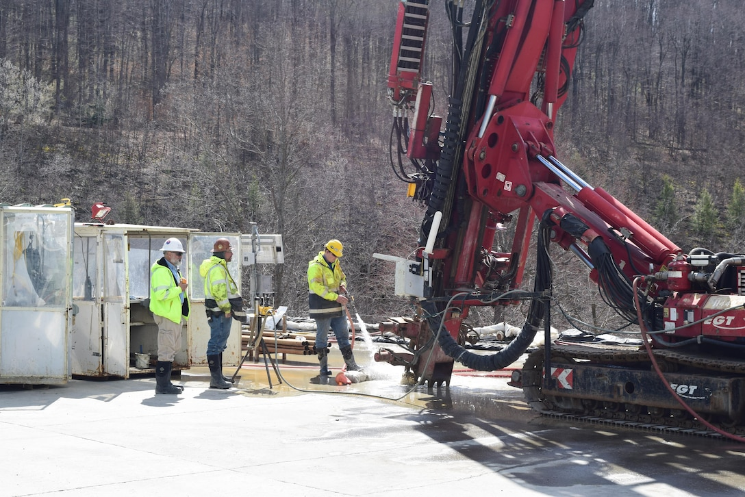 U.S. Army Corps of Engineers' contractors recently began construction of the East Branch Dam Safety Initiative cutoff wall.