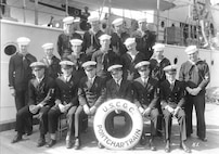 Engine room force, USCGC Pontchartrain, 1929, blue dress uniform.