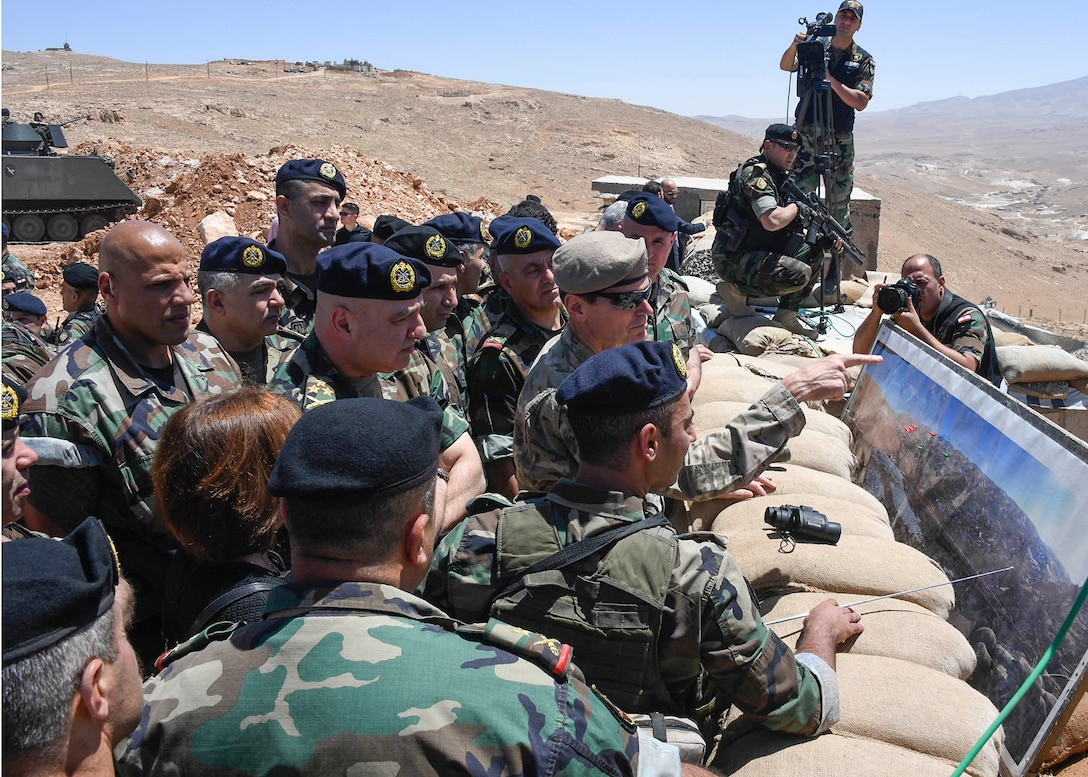 U.S. Army Gen Joseph L. Votel, commander United States Central Command, receives a mission briefing at the Lebanese Armed Forces 9th brigade observation positon at Dahr Al Jabl overlook, near the Syrian border during his visit to Lebanon June 7, 2017. On the trip, Votel met with key leaders of the Lebanese government and military to reaffirm a shared commitment of stability and security in the region. (Department of Defense photo by U.S. Air Force Tech Sgt. Dana Flamer)
