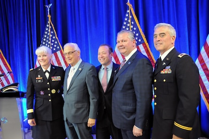 Maj. Gen. Mary Link, commanding general for Army Reserve Medical Command, stands next to Congressman Bill Pascrell from New Jersey's 9th district; Congressman Josh Gottheimer, from New Jersey's 5th district; Dr. Ihor Sawczuk, Hackensack University Medical Center President; and Col. Brad Wenstrup, commander of 7457th Medical Backfill Bn.  On June 5, 2017, Hackensack University Medical Center and the U.S. Army Reserve announced the formation of Operation Hackensack S.M.A.R.T. (Strategic Medical Asset Readiness Training), an innovative, first-of-its-kind partnership which focuses on high-quality, individualized specialty medical training for service members to improve their knowledge, skillsets and increase soldier readiness.  Soldiers will partner with their civilian counterparts at Hackensack University Medical Center for 14 days of immersion training utilizing cutting-edge technology, at no additional cost to the government. This innovative relationship will contribute to superior readiness and in-depth training within the medical ranks. It will also provide critical knowledge sharing between military and civilian medical professionals about best practices, techniques and procedures to ensure military service members are trained to use the most current technology in today's rapidly changing health care landscape.