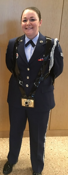 Senior Airman Kayla-Rae Ross, 10th Medical Support Squadron, is one of 38 Airmen at the U.S. Air Force Academy yo receive their Community College of the Air Force degrees, June 6, 2017. (Photo by Laurie Wilson) .