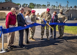 The Fort Polk Garrison Commander and Louisiana Congressional representatives attended a ribbon cutting ceremony for two newly constructed Wastewater Treatment Plants at Fort Polk, Louisiana, May 24. DLA Energy Utility Services provided the contract for the two WWTPs that will treat 6.4 million gallons of wastewater per day. This project will improve Fort Polk's mission assurance and have a positive environmental impact for more than 50 years.